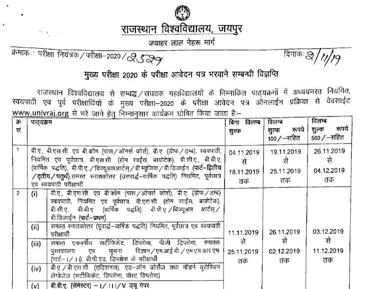 राजस्थान यूनिवर्सिटी ऑनलाइन फॉर्म लास्ट डेट 2020 Rajasthan University online exam form