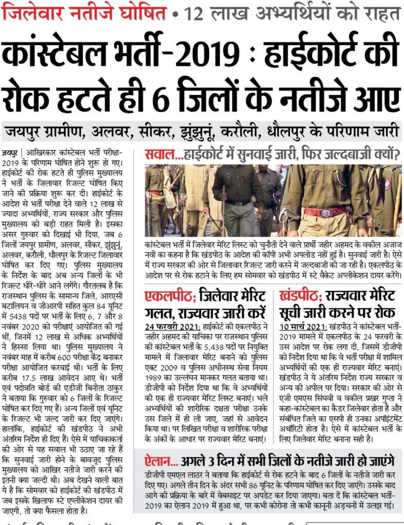 राजस्थान पुलिस कांस्टेबल भर्ती 2021 का रिजल्ट जारी